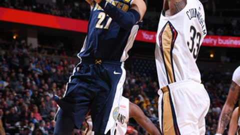DENVER, CO - NOVEMBER 17: Jamal Murray #27 of the Denver Nuggets goes to the basket against the New Orleans Pelicans on November 17, 2017 at the Pepsi Center in Denver, Colorado. NOTE TO USER: User expressly acknowledges and agrees that, by downloading and/or using this Photograph, user is consenting to the terms and conditions of the Getty Images License Agreement. Mandatory Copyright Notice: Copyright 2017 NBAE (Photo by Garrett Ellwood/NBAE via Getty Images)