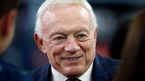 """FILE - In this Nov. 24, 2016, file photo, Dallas Cowboys owner Jerry Jones talks on the sideline before the Cowboys played the Washington Redskins during an NFL football game in Arlington, Texas.  Jones has apologized, Friday, Nov. 17, 2017,  after a gossip website posted a 4-year-old video of him making a racially insensitive comment. The Blast website reported the video was shot in 2013 at a Dallas hotel by a white man who asked Jones if he would tape a message for his fiancee. Jones appeared to be joking when he said, """"Hey, Jennifer, congratulations on the wedding. Now, you know he's with a black girl tonight, don't you?""""  (AP Photo/Ron Jenkins File)"""