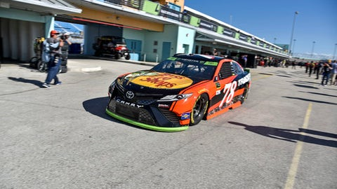 Martin Truex Jr. during practice for the Sunday's NASCAR Cup Series Ford EcoBoost 400 at Homestead-Miami Speedway, Saturday, Nov. 18, 2017, in Homestead, Fla.(AP Photo/Gaston De Cardenas)