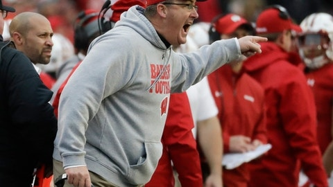 Wisconsin head coach Paul Chryst reacts after a call was overturned on an instant review during the first half of an NCAA college football game against the Michigan Saturday, Nov. 18, 2017, in Madison, Wis. (AP Photo/Morry Gash)