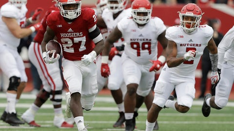 Indiana running back Morgan Ellison (27) is chased by Rutgers defensive back Kiy Hester (2) during the first half of an NCAA college football game, Saturday, Nov. 18, 2017, in Bloomington, Ind. (AP Photo/Darron Cummings)