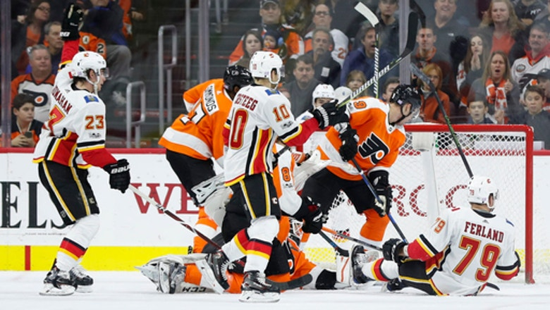 Monahan's first hat trick lifts Flames over Flyers 5-4