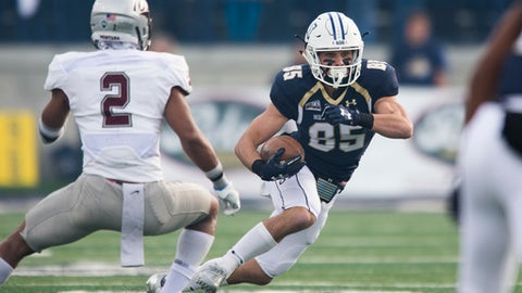 In this photo provided by Montana State University, Montana State wide receiver Kevin Kassis (85) runs past Montana cornerback Ryan McKinley (2) during the first half of an NCAA college football game Saturday, Nov. 18, 2017 in Bozeman, Mont. (Kelly Gorham/ Montana State University via AP)