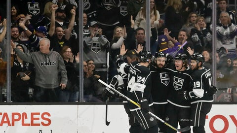 Members of the Los Angeles Kings celebrates after a goal by center Tyler Toffoli during the first period of an NHL hockey game against the Florida Panthers in Los Angeles, Saturday, Nov. 18, 2017. (AP Photo/Chris Carlson)