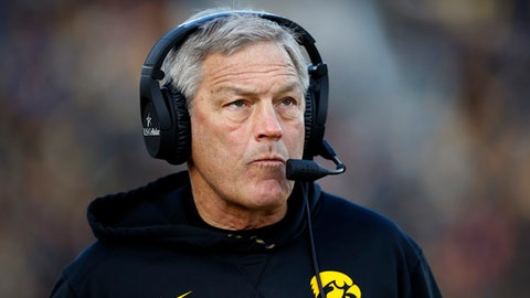 Iowa head coach Kirk Ferentz watches from the sideline during the first half of an NCAA college football game against Purdue, Saturday, Nov. 18, 2017, in Iowa City, Iowa. Purdue won 24-15. (AP Photo/Charlie Neibergall)