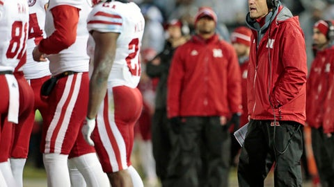 Nebraska head coach Mike Riley yells out to his players as they get ready to kick off to Penn State during the second half of an NCAA college football game in State College, Pa., Saturday, Nov. 18, 2017. Penn State won 56-44. (AP Photo/Chris Knight)