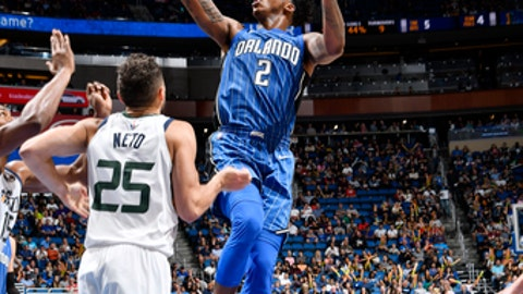 ORLANDO, FL - NOVEMBER 18:  Elfrid Payton #2 of the Orlando Magic shoots the ball against the Utah Jazz on November 18, 2017 at Amway Center in Orlando, Florida. NOTE TO USER: User expressly acknowledges and agrees that, by downloading and or using this photograph, User is consenting to the terms and conditions of the Getty Images License Agreement. Mandatory Copyright Notice: Copyright 2017 NBAE (Photo by Fernando Medina/NBAE via Getty Images)