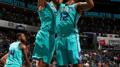 CHARLOTTE, NC - NOVEMBER 18: Dwight Howard #12 of the Charlotte Hornets rebounds the ball during the game against the LA Clippers on November 18, 2017 at Spectrum Center in Charlotte, North Carolina. NOTE TO USER: User expressly acknowledges and agrees that, by downloading and or using this photograph, User is consenting to the terms and conditions of the Getty Images License Agreement.  Mandatory Copyright Notice:  Copyright 2017 NBAE (Photo by Kent Smith/NBAE via Getty Images)