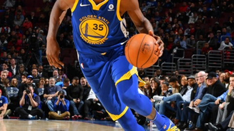 PHILADELPHIA, PA - NOVEMBER 18: Kevin Durant #35 of the Golden State Warriors handles the ball during the game against the Philadelphia 76ers  on November 18, 2017 at Wells Fargo Center in Philadelphia, Pennsylvania. NOTE TO USER: User expressly acknowledges and agrees that, by downloading and/or using this Photograph, user is consenting to the terms and conditions of the Getty Images License Agreement. Mandatory Copyright Notice: Copyright 2017 NBAE (Photo by Jesse D. Garrabrant/NBAE via Getty Images)