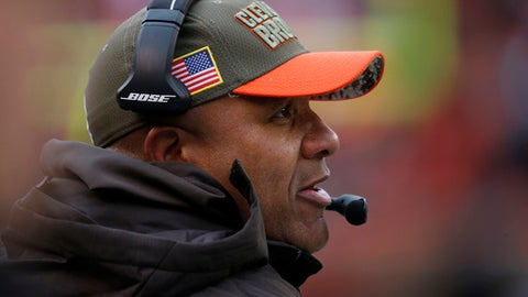 Cleveland Browns head coach Hue Jackson watches in the first half during an NFL football game against the Jacksonville Jaguars, Sunday, Nov. 19, 2017, in Cleveland. (AP Photo/Ron Schwane)