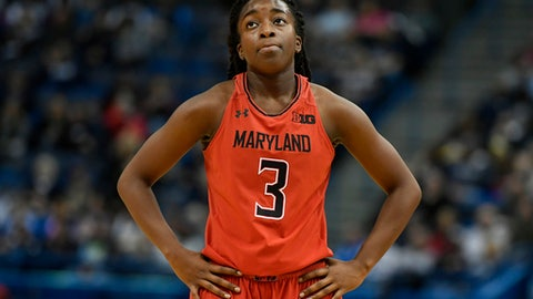 Maryland's Channise Lewis watches as Connecticut shoots a free throw during the second half an NCAA college basketball game, Sunday, Nov. 19, 2017, in Hartford, Conn. (AP Photo/Jessica Hill)