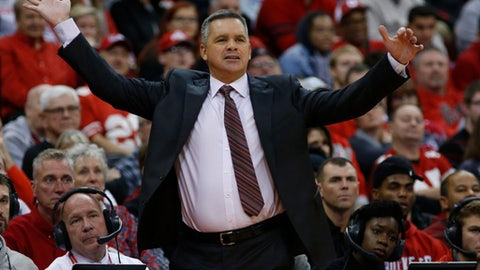 Ohio State head coach Chris Holtmann instructs his team against Northeastern during the first half of an NCAA college basketball game Sunday, Nov. 19, 2017, in Columbus, Ohio. (AP Photo/Jay LaPrete)