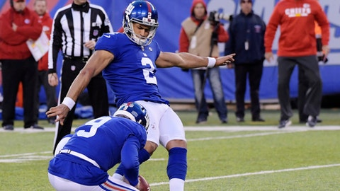 New York Giants' Aldrick Rosas (2) kicks a winning field goal during overtime of an NFL football game against the Kansas City Chiefs, Sunday, Nov. 19, 2017, in East Rutherford, N.J. (AP Photo/Bill Kostroun)