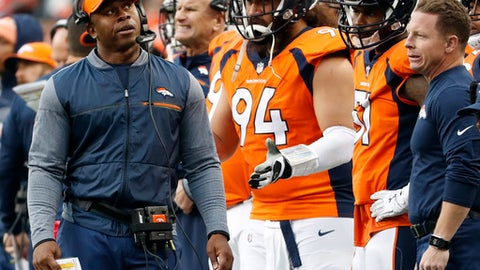 Denver Broncos head coach Vance Joseph walks the sidelines during the first half of an NFL football game against the Cincinnati Bengals, Sunday, Nov. 19, 2017, in Denver. (AP Photo/Jack Dempsey)