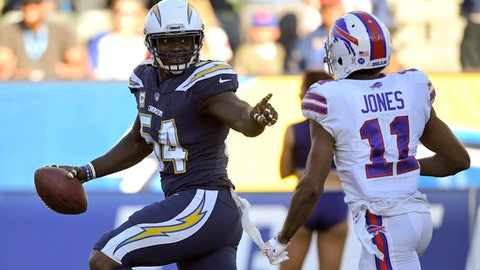 Chargers lead Bills 7-0 on a pick-six