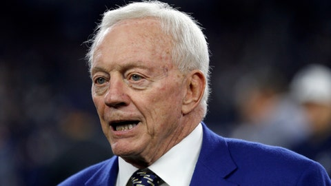 Dallas Cowboys team owner Jerry Jones stands on the field during warmups before an NFL football game against the Philadelphia Eagles on Sunday, Nov. 19, 2017, in Arlington, Texas. (AP Photo/Ron Jenkins)