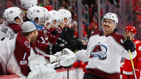 Colorado Avalanche right wing Nail Yakupov (64) celebrates his goal against the Detroit Red Wings in the third period of an NHL hockey game Sunday, Nov. 19, 2017, in Detroit. (AP Photo/Paul Sancya)
