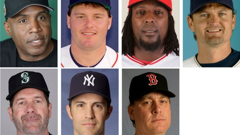FILE - Top row from left are file photos showing San Francisco Giants' Barry Bonds in 2017; Boston Red Sox' Roger Clemens in 1987; Los Angeles Angels' Vladimir Guerrero in 2009 and San Diego Padres' Trevor Hoffman in 2008. Bottom row from left are Seattle Mariners'Edgar Martinez in 2017; New York Yankees' Mike Mussina in 2008 and Boston Red Sox' Curt Schilling in 2008. Trevor Hoffman, who fell five votes short last year on the Baseball Writers' Association of America ballot for baseball's Hall of Fame, heads holdovers that include Vladimir Guerrero, Edgar Martinez, Roger Clemens, Barry Bonds, Mike Mussina and Curt Schilling. (AP Photo/File)