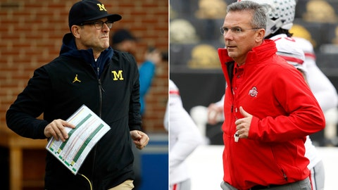 FILE - At left, in a Nov. 11, 2017, file photo, Michigan head coach Jim Harbaugh runs onto the field with his team before an NCAA college football game against Maryland in College Park, Md. At right, in a Nov. 4, 2017, file photo, Ohio State head coach Urban Meyer runs onto the field before an NCAA college football game against Iowa, in Iowa City, Iowa. A narrow path has opened that could see the Buckeyes sneaking back into the final four. That would require robust victories over unranked Michigan at Ann Arbor on Saturday and another one against No. 5 Wisconsin in the Big Ten Championship Game. Some other teams would have to create some chaos in the rankings for Ohio State to get in, but it could happen. (AP Photo/File)