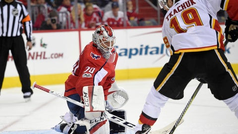Washington Capitals goalie Braden Holtby (70) watches the puck against Calgary Flames left wing Matthew Tkachuk (19) during the second period of an NHL hockey game, Monday, Nov. 20, 2017, in Washington. (AP Photo/Nick Wass)