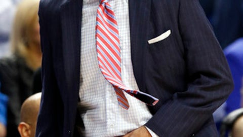 Troy head coach Phil Cunningham watches his team during the first half of an NCAA college basketball game against Kentucky, Monday, Nov. 20, 2017, in Lexington, Ky. (AP Photo/James Crisp)