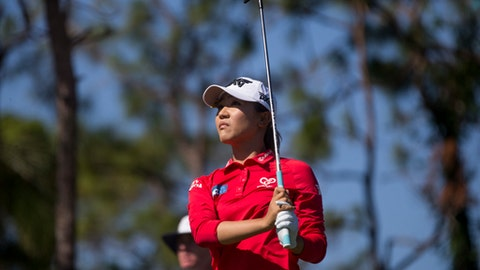 Lydia Ko watches after hitting on the fifth hole during the second round of the CME Group Tour Championship golf tournament at Tiburón Golf Club, Friday, Nov. 17, 2017, in Naples. Fla. (Luke Franke/Naples Daily News via AP)