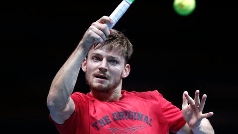 Belgium's David Goffin returns the ball during a training session at the Pierre Mauroy stadium in Lille, northern France, Wednesday, Nov.22, 2017. France will face Belgium in the Davis Cup final starting next Friday. (AP Photo/Michel Spingler)