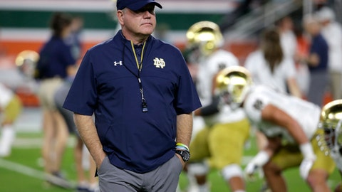FILE - In this Nov. 11, 2017, file photo, Notre Dame head coach Brian Kelly walks on the field before an NCAA college football game against Miami in Miami Gardens, Fla. The game between No. 9 Notre Dame and No. 20 Stanford may not carry the pomp and circumstances of some previous meetings, but it does give Irish coach Brian Kelly his latest chance to complete an elusive mission: beat a ranked team on the road. (AP Photo/Lynne Sladky, File)