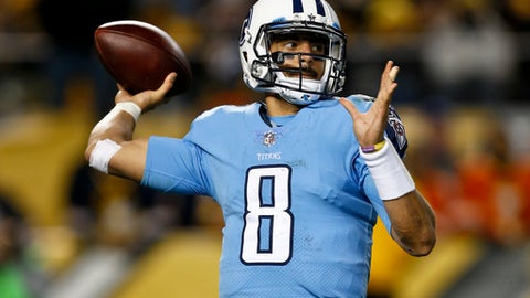 In this Nov. 16, 2017, photo, Tennessee Titans quarterback Marcus Mariota (8) plays in an NFL football game against the Pittsburgh Steelers in Pittsburgh in Pittsburgh. The one thing Mariota has shown in his young NFL career is the ability to bounce back from an interception or a bad game. The Titans' third-year quarterback is coming off the worst game yet with four interceptions and has more picks than touchdown passes this season, and now he gets to visit Indianapolis and one of the league's worst pass defenses. (AP Photo/Keith Srakocic)