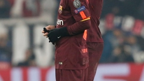 Barcelona's Lionel Messi walks off the pitch at the end of the Champions League group D soccer match between Juventus and Barcelona, at the Allianz Stadium in Turin, Italy, Wednesday, Nov. 22, 2017. (AP Photo/Antonio Calanni)