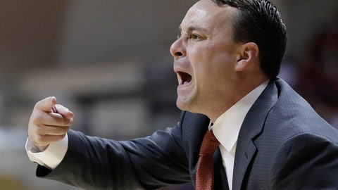 Indiana coach Archie Miller yells to his players during the first half of an NCAA college basketball game against Arkansas State, Wednesday, Nov. 22, 2017, in Bloomington, Ind. (AP Photo/Darron Cummings)