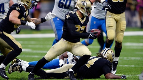FILE - In this Oct. 15, 2017, file photo, New Orleans Saints strong safety Kenny Vaccaro (32) intents a pass during the second half of an NFL football game against the Detroit Lions in New Orleans. Right when it looked like Saints defensive coordinator Dennis Allen had built one of the more stifling units in the league, injuries have begun taking a toll. Not only is starting end Alex Okafor done for the year, but the effectiveness of three other key starters who could try to play this week remains to be seen as New Orleans braces for the Los Angeles Rams' fourth-ranked offense. The Saints could get Vaccaro and linebacker A.J. Klein back. Both players, who are veteran leaders for their position groups, said they expected to return to action after practicing on a limited basis on Wednesday, Nov. 22. (AP Photo/Bill Feig, File)