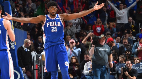 PHILADELPHIA,PA -  NOVEMBER 22 :  Joel Embiid #21 of the Philadelphia 76ers gets pumped up after a play against the Portland Trail Blazers at Wells Fargo Center on November 22, 2017 in Philadelphia, Pennsylvania NOTE TO USER: User expressly acknowledges and agrees that, by downloading and/or using this Photograph, user is consenting to the terms and conditions of the Getty Images License Agreement. Mandatory Copyright Notice: Copyright 2017 NBAE (Photo by Jesse D. Garrabrant/NBAE via Getty Images)