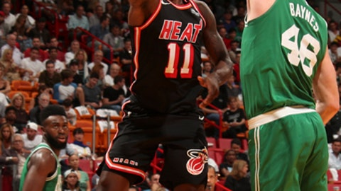 MIAMI, FL - NOVEMBER 22: Dion Waiters #11 of the Miami Heat shoots the ball against the Boston Celtics on November 22, 2017 at AmericanAirlines Arena in Miami, Florida. NOTE TO USER: User expressly acknowledges and agrees that, by downloading and or using this Photograph, user is consenting to the terms and conditions of the Getty Images License Agreement. Mandatory Copyright Notice: Copyright 2017 NBAE (Photo by Issac Baldizon/NBAE via Getty Images)