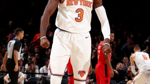 NEW YORK, NY - NOVEMBER 22: Tim Hardaway Jr. #3 of the New York Knicks reacts during the game against the Toronto Raptors on November  22, 2017 at Madison Square Garden in New York, New York. NOTE TO USER: User expressly acknowledges and agrees that, by downloading and or using this Photograph, user is consenting to the terms and conditions of the Getty Images License Agreement. Mandatory Copyright Notice: Copyright 2017 NBAE (Photo by Nathaniel S. Butler/NBAE via Getty Images)