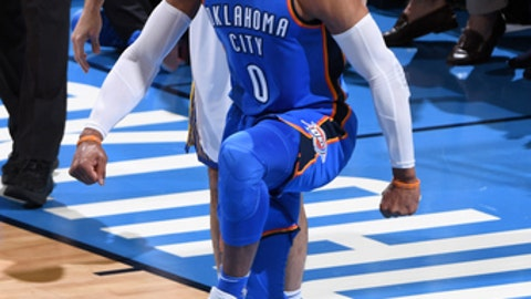 OKLAHOMA CITY, OK - NOVEMBER 22: Russell Westbrook #0 of the Oklahoma City Thunder reacts to a play against the Golden State Warriors during the game at the Chesapeake Energy Arena on November 22, 2017 in Oklahoma City, Oklahoma. NOTE TO USER: User expressly acknowledges and agrees that, by downloading and/or using this Photograph, user is consenting to the terms and conditions of the Getty Images License Agreement. Mandatory Copyright Notice: Copyright 2017 NBAE (Photo by Garrett Ellwood/NBAE via Getty Images)