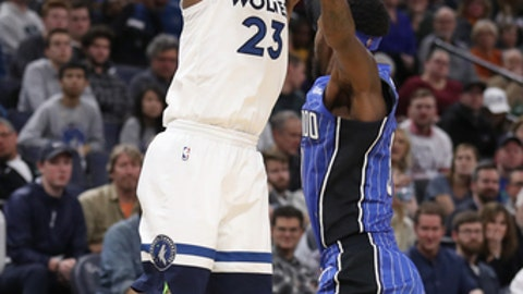 MINNEAPOLIS, MN - NOVEMBER 22: Jimmy Butler #23 of the Minnesota Timberwolves shoots the ball against the Orlando Magic on November 22, 2017 at Target Center in Minneapolis, Minnesota. NOTE TO USER: User expressly acknowledges and agrees that, by downloading and/or using this photograph, user is consenting to the terms and conditions of the Getty Images License Agreement. Mandatory Copyright Notice: Copyright 2017 NBAE (Photo by Jordan Johnson/NBAE via Getty Images)
