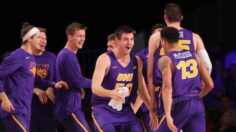 Northern Iowa reacts to a play against SMU during an NCAA college basketball game Wednesday, Nov. 22, 2017, in the Battle 4 Atlantis tournament in Paradise Island, Bahamas. (Tim Aylen/Bahamas Visual Services Photo via AP)