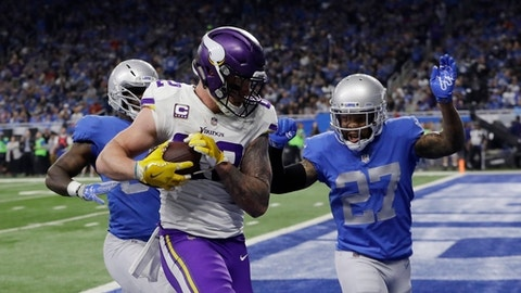 Minnesota Vikings tight end Kyle Rudolph (82) runs into the end zone for a touchdown during the first half of an NFL football game against the Detroit Lions, Thursday, Nov. 23, 2017, in Detroit. (AP Photo/Carlos Osorio)