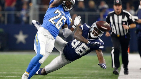 Los Angeles Chargers cornerback Casey Hayward (26) breaks up a pass intended or Dallas Cowboys' Dez Bryant (88) along the sideline in the second half of an NFL football game, Thursday, Nov. 23, 2017, in Arlington, Texas. (AP Photo/Ron Jenkins)
