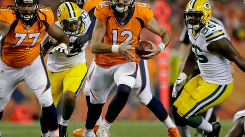 FILE - In this Aug. 26, 2017, file photo, Denver Broncos quarterback Paxton Lynch (12) scrambles against the Green Bay Packers during the second half of an NFL preseason football game in Denver. Denver has made its second switch at quarterback, giving Lynch a chance after Trevor Siemian and Brock Osweiler failed in their chances. The Broncos play the Oakland Raiders this week. (AP Photo/Jack Dempsey)