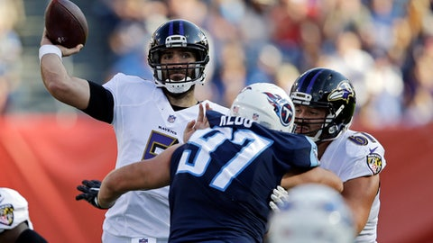 FILE - In this Nov. 5, 2017, file photo, Baltimore Ravens quarterback Joe Flacco (5) passes against the Tennessee Titans in the second half of an NFL football game in Nashville, Tenn. Flacco has started all 10 games for the Ravens despite sitting out the entire preseason with a back injury. (AP Photo/James Kenney, File)