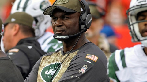 FILE - In this Nov. 12, 2017, file photo, New York Jets head coach Todd Bowles during the second half of an NFL football game against the Tampa Bay Buccaneers in Tampa, Fla. Sitting at 4-6 but still in the hunt for an AFC playoff spot, Bowles' bunch has little room to spare.  (AP Photo/Steve Nesius, File)