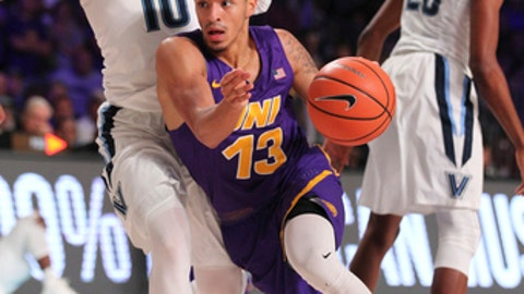 Northern Iowa guard Juwan McCloud (13) guarded by Villanova guard Donte DiVincenzo (10) during the final day of action Nov. 24, 2017 in the Bad Boy Mowers Battle 4 Atlantis NCAA college basketball  tournament in Paradise Island, Bahamas. (Tim Aylen/Bahamas Visual Services via AP)