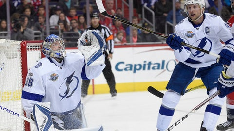 Tampa Bay Lightning goalie Andrei Vasilevskiy (88), of Russia, and center Steven Stamkos (91) watch the puck during the second period of an NHL hockey game against the Washington Capitals, Friday, Nov. 24, 2017, in Washington. (AP Photo/Nick Wass)