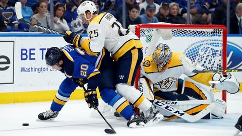St. Louis Blues' Alexander Steen (20) looks at the puck as Nashville Predators' Alexei Emelin, of Russia, and goalie Pekka Rinne, right, defend during the second period of an NHL hockey game Friday, Nov. 24, 2017, in St. Louis. (AP Photo/Jeff Roberson)