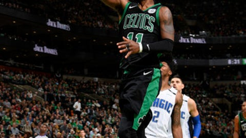 BOSTON, MA - NOVEMBER 24: Kyrie Irving #11 of the Boston Celtics shoots the ball during the game against the Orlando Magic on November 24, 2017 at the TD Garden in Boston, Massachusetts.  NOTE TO USER: User expressly acknowledges and agrees that, by downloading and or using this photograph, User is consenting to the terms and conditions of the Getty Images License Agreement. Mandatory Copyright Notice: Copyright 2017 NBAE  (Photo by Brian Babineau/NBAE via Getty Images)