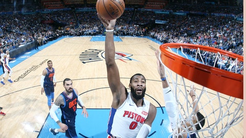 OKLAHOMA CITY, OK - NOVEMBER 24: Andre Drummond #0 of the Detroit Pistons drives to the basket against the Oklahoma City Thunder on November 24, 2017 at Chesapeake Energy Arena in Oklahoma City, Oklahoma. NOTE TO USER: User expressly acknowledges and agrees that, by downloading and or using this photograph, User is consenting to the terms and conditions of the Getty Images License Agreement. Mandatory Copyright Notice: Copyright 2017 NBAE (Photo by Layne Murdoch/NBAE via Getty Images)