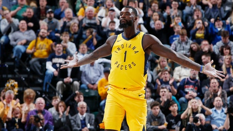 INDIANAPOLIS, IN - NOVEMBER 24: Lance Stephenson #1 of the Indiana Pacers reacts after making a shot in the second half of a game against the Toronto Raptors at Bankers Life Fieldhouse on November 24, 2017 in Indianapolis, Indiana. The Pacers won 107-104. NOTE TO USER: User expressly acknowledges and agrees that, by downloading and or using the photograph, User is consenting to the terms and conditions of the Getty Images License Agreement. (Photo by Joe Robbins/Getty Images)