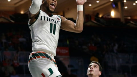 Miami's Bruce Brown Jr. (11) reacts after dunking over North Florida's Trip Day (22) during the second half of an NCAA college basketball game, Saturday, Nov. 25, 2017, in Coral Gables, Fla. (AP Photo/Lynne Sladky)